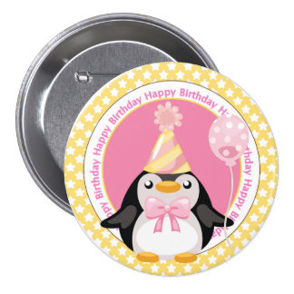 Cute Penguin with Balloon Birthday Button