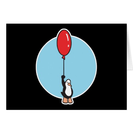 cute penguin with balloon greeting cards