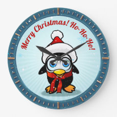 Cute Penguin With Christmas Hat Cartoon Large Clock