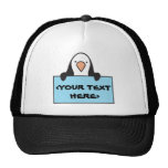 CUTE PENGUIN WITH CUSTOM SIGN, <YOUR TEXT HERE> HATS