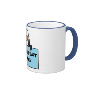 CUTE PENGUIN WITH CUSTOM SIGN, <YOUR TEXT HERE> RINGER COFFEE MUG