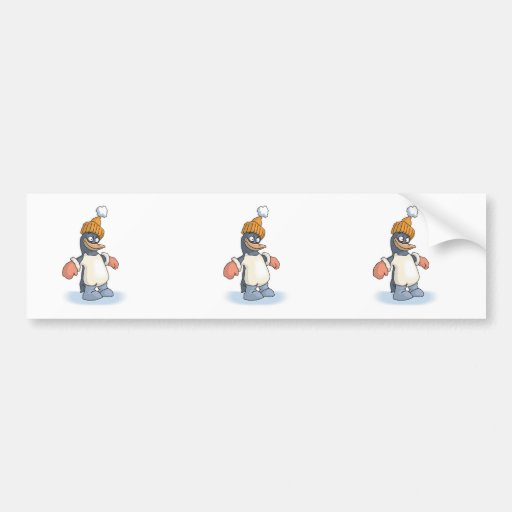 cute penguin with hat and gloves bumper stickers