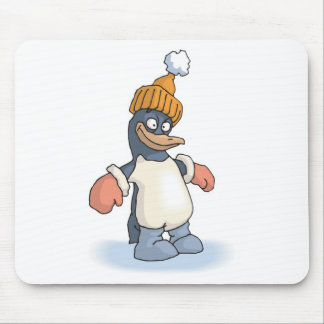 cute penguin with hat and gloves mouse pad