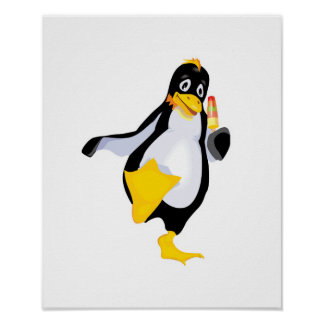 cute penguin with ice cream poster