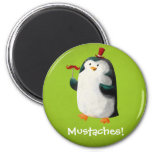 Cute Penguin with Mustaches 2 Inch Round Magnet