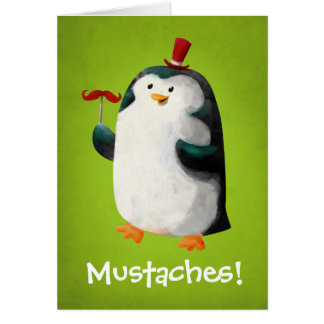 Cute Penguin with Mustaches Card