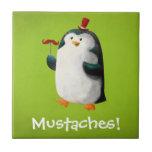 Cute Penguin with Mustaches Ceramic Tiles