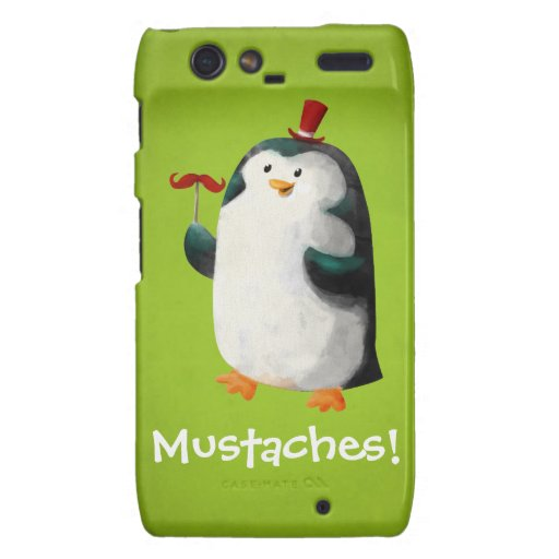 Cute Penguin with Mustaches Droid RAZR Covers