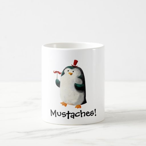 Cute Penguin with Mustaches Classic White Coffee Mug