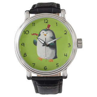 Cute Penguin with Mustaches Wristwatches
