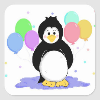 Cute Penguin with Party Balloons Square Sticker