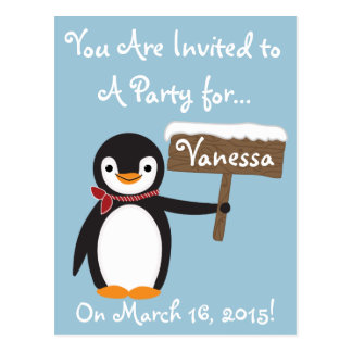 Cute Penguin with Striped Scarf Customizable Postcard