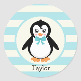 Cute Penguin with Turquoise Bowtie Classic Round Sticker