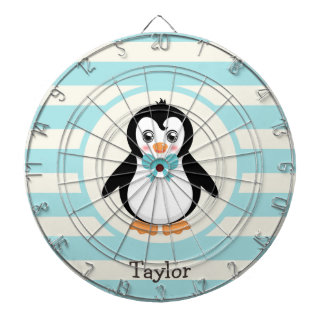 Cute Penguin with Turquoise Bowtie Dartboard With Darts