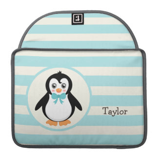 Cute Penguin with Turquoise Bowtie Sleeve For MacBooks