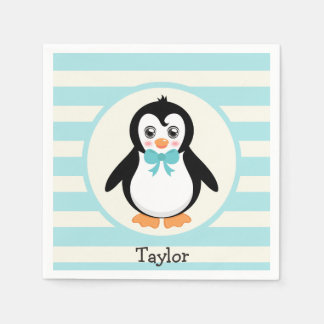 Cute Penguin with Turquoise Bowtie Napkin