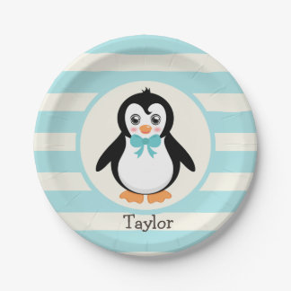 Cute Penguin with Turquoise Bowtie Paper Plate