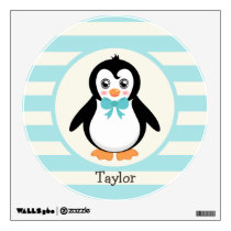 Cute Penguin with Turquoise Bowtie Wall Decal