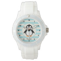 Cute Penguin with Turquoise Bowtie Wristwatch