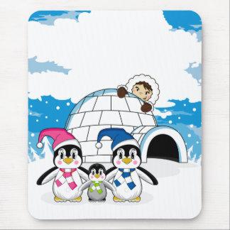 Cute Penguins and Eskimo Mousepad