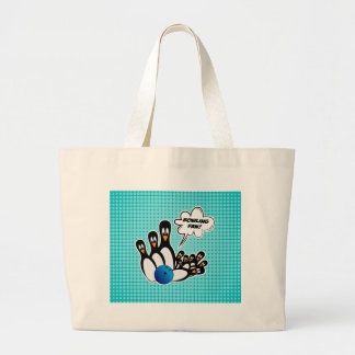 Cute Penguins Bowling Fan Large Tote Bag