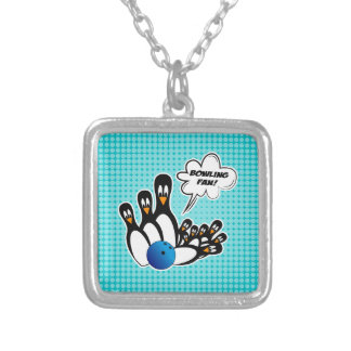 Cute Penguins Bowling Fan Silver Plated Necklace