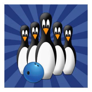 Cute Penguins Bowling Pins 24x24 Print Photo Print