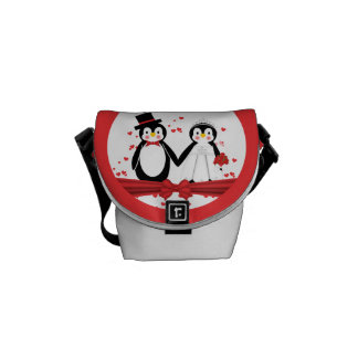 Cute Penguins Bride & Groom Wedding Favor Bag