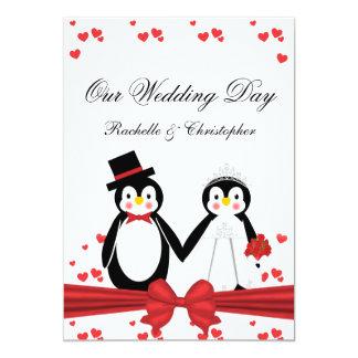 Cute Penguins Bride & Groom Wedding Invitations