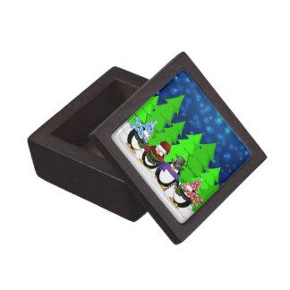 Cute Penguins Carolers Premium Gift Box
