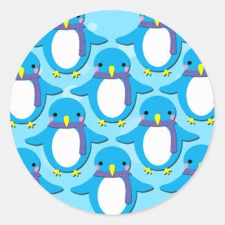 Cute Penguins Classic Round Sticker
