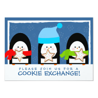 Cute Penguins Cookie Exchange Party Invitation