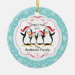 Cute Penguins Family of 4 Christmas Ornament