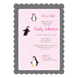 "cute penguins girl baby shower 5"" x 7""  invitation"