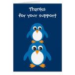 Cute Penguins Gratitude Card For Sponsor