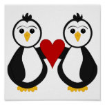 Cute Penguins Holding A Heart Print
