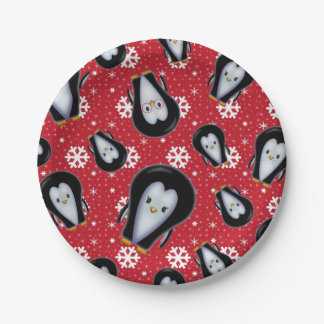 Cute Penguins Holiday Christmas Fun Art Paper Plate