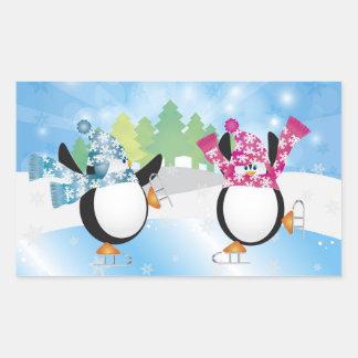 Cute Penguins Ice Skate Sticker