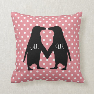 Cute penguins in love - add your own initials throw pillow