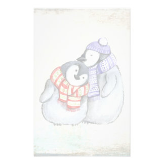 Cute Penguins in Winter Scarves and Hats Stationery