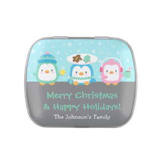 Cute Penguins Merry Christmas Party Treats Jelly Belly Candy Tins