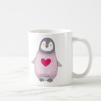 Cute Penguins Mug for Her Penguin With Red Heart
