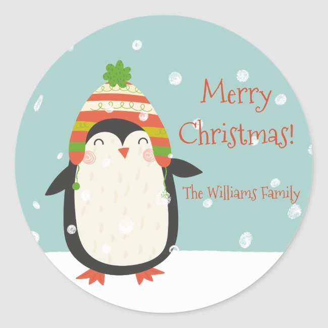 Cute Penguins Pattern - Aqua Green Christmas