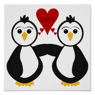 Cute Penguins Thinking Love Poster