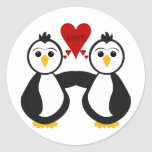 Cute Penguins Thinking Love Stickers