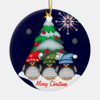 Cute Penguins, Tree and Custom Text ornament