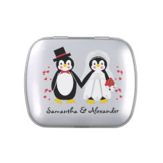 Cute Penguins Wedding Bride & Groom Candy Tin at Zazzle