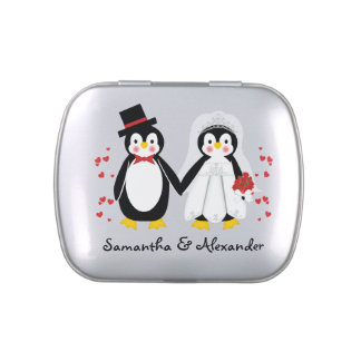 Cute Penguins Wedding Bride & Groom Candy Tin