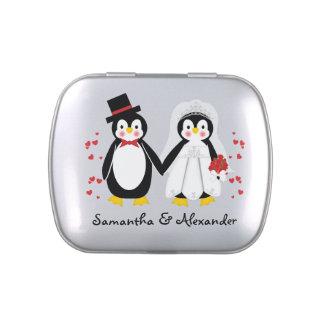 Cute Penguins Wedding Bride & Groom Candy Tin