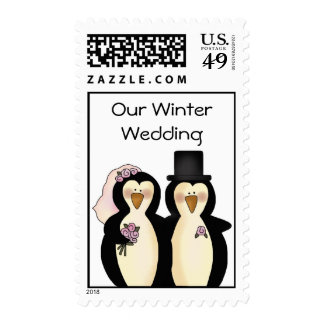 Cute Penguins Wedding Stamps
